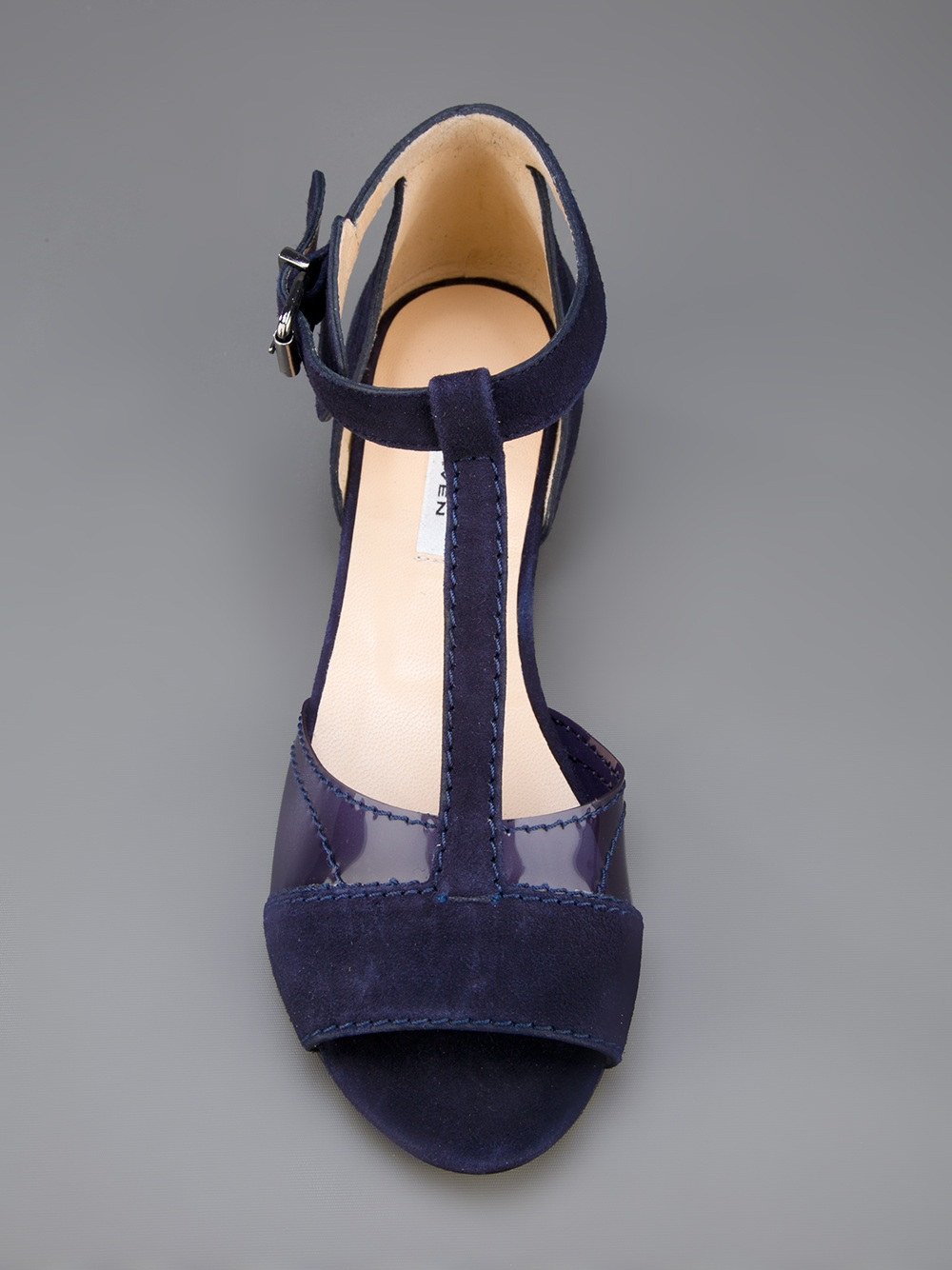 Carven Buckled Flat Sandals In Blue Navy Lyst