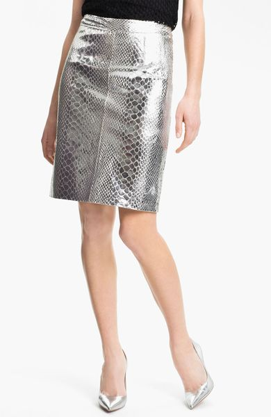 milly metallic leather skirt in silver lyst