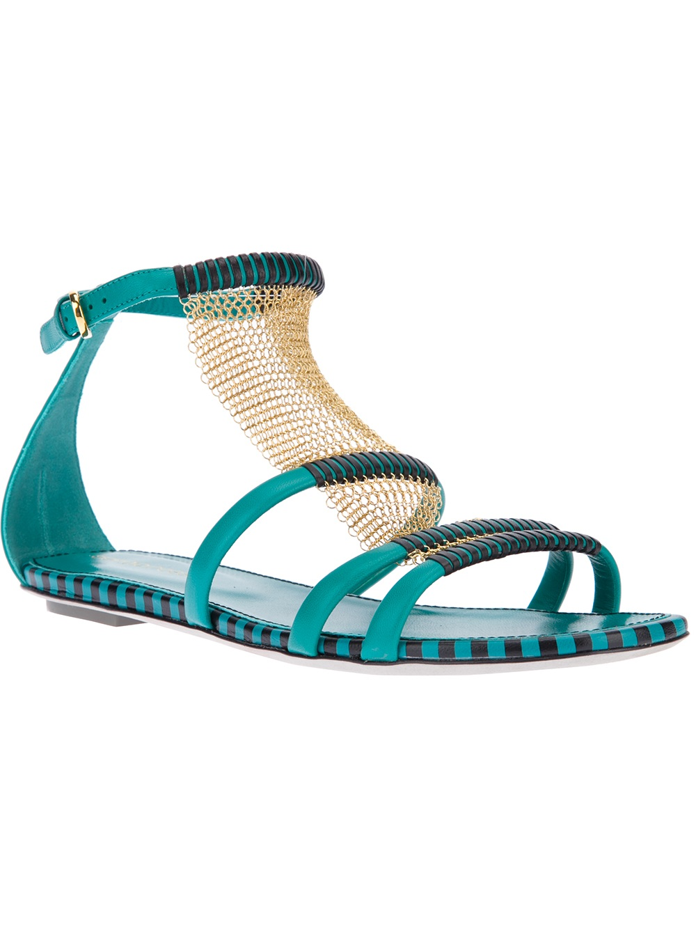 Sergio Rossi Strappy Flat Sandal In Green Turquoise Lyst