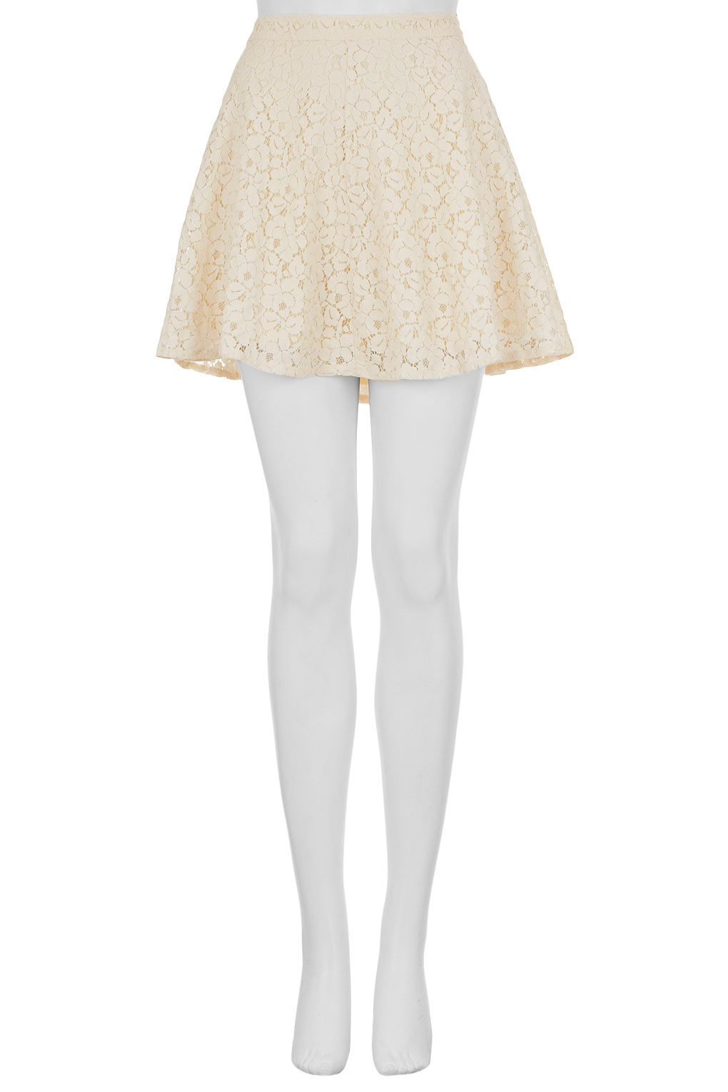 e16c4ad30 TOPSHOP Cream Lace Skater Skirt in Natural - Lyst