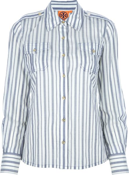 Tory Burch Contrast Stripe Shirt in Gray (grey)