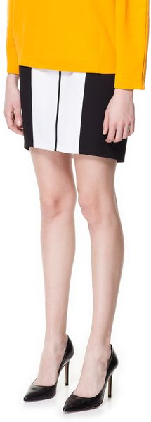 Zara Two Tone Combination Skirt in White (black)