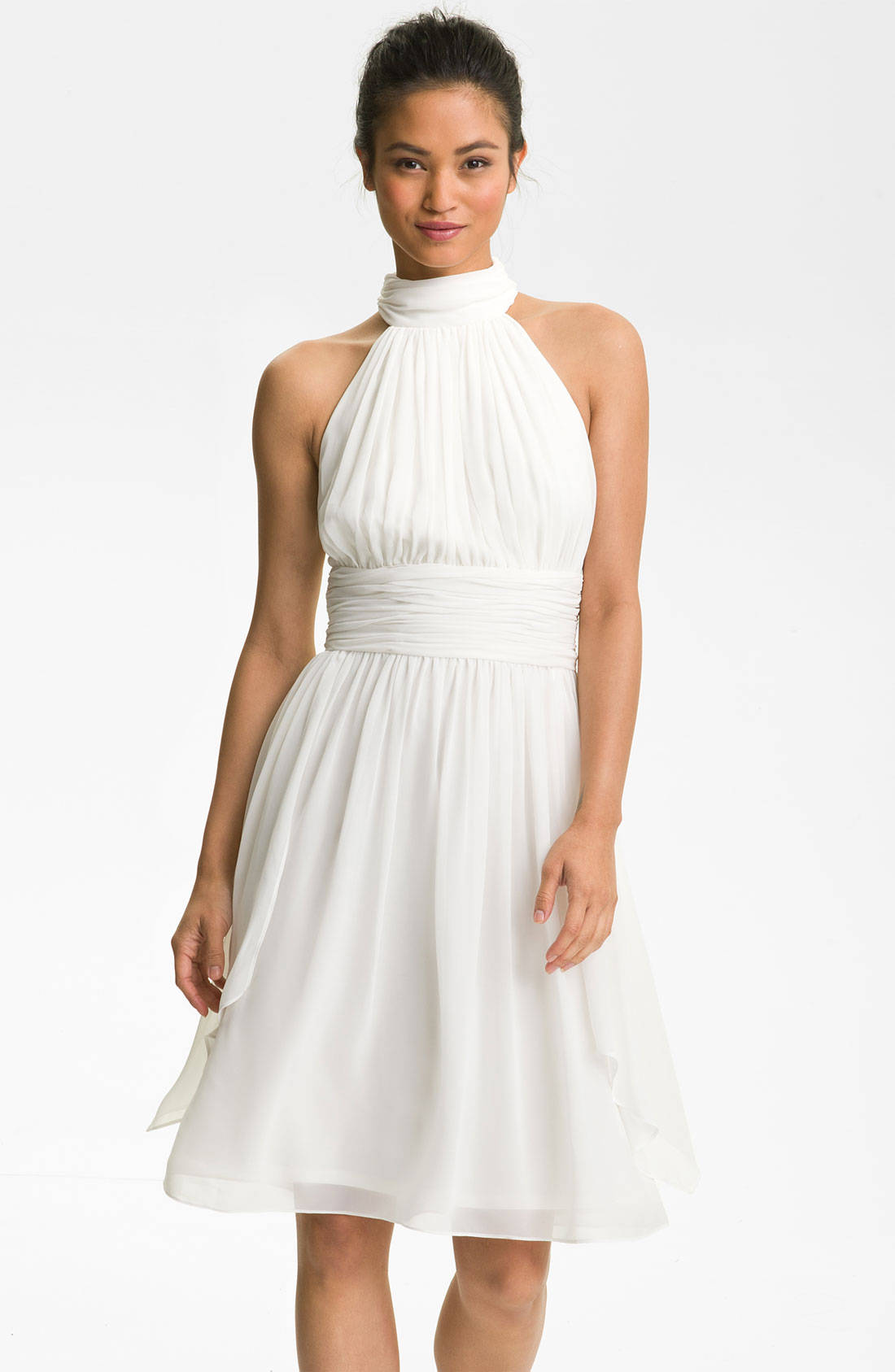 maggy london ruched chiffon halter dress in bridal white lyst