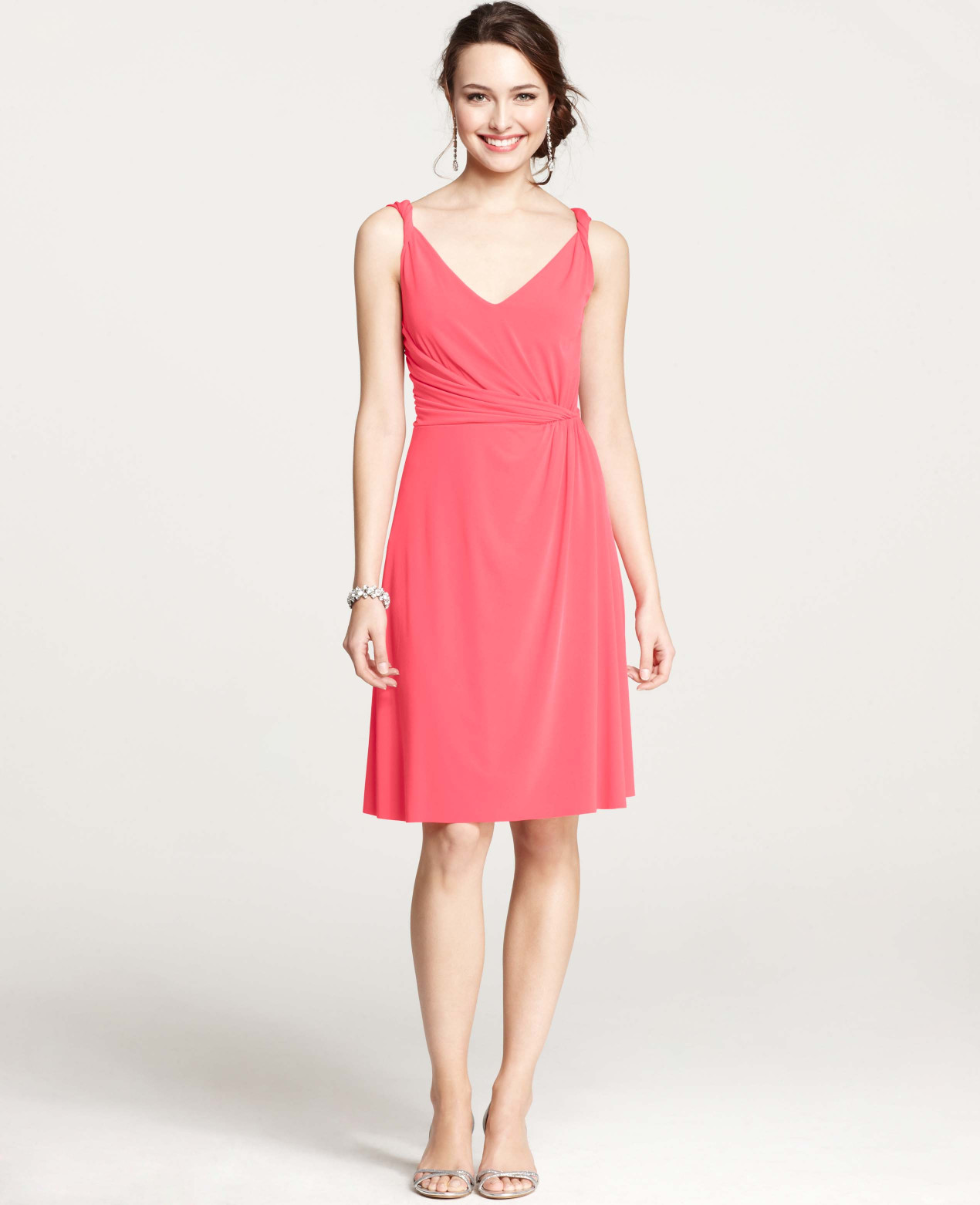 Ann taylor jersey twisted shoulder strap bridesmaid dress in pink gallery womens bridesmaid dresses ombrellifo Images