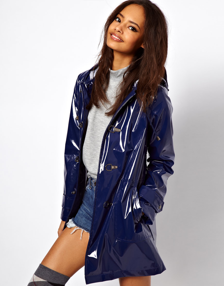 Asos Plastic Rain Trench With Metal Toggles In Red Lyst