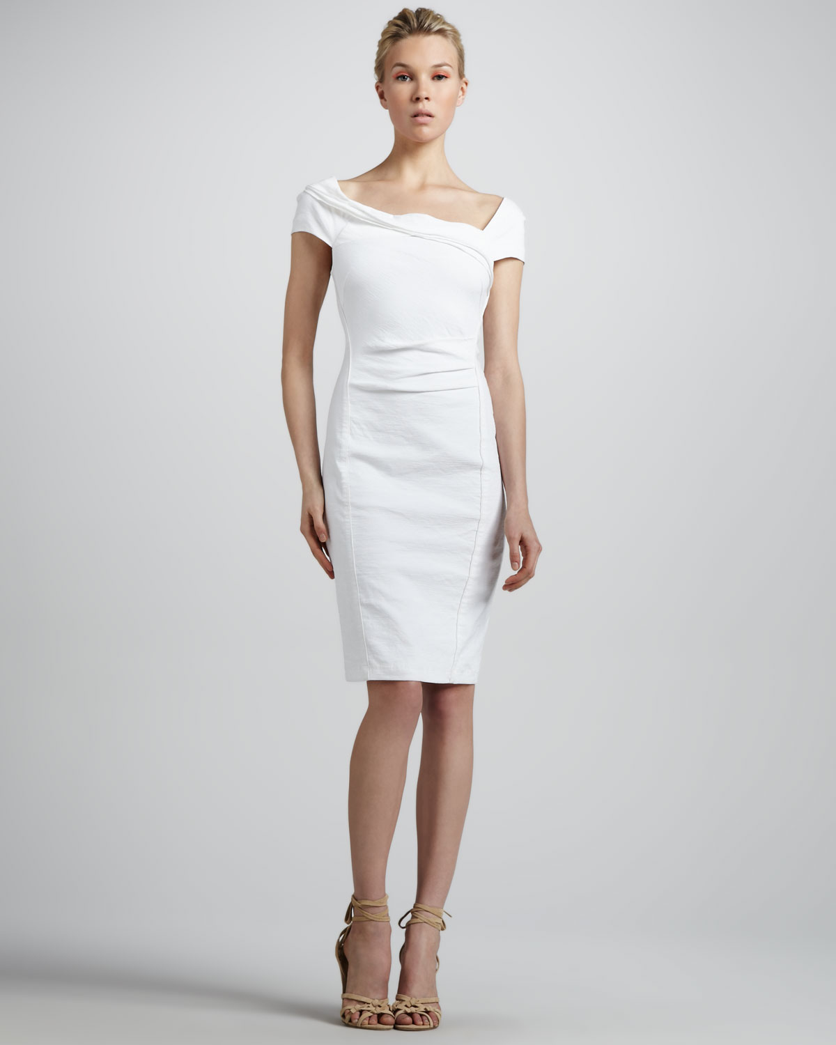 Donna karan Draped Stretch-Jersey Dress in White | Lyst