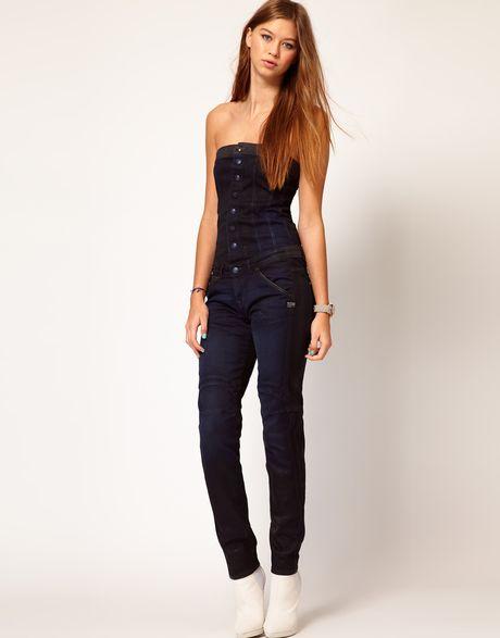 g star raw gstar denim jumpsuit in blue darkdenim lyst. Black Bedroom Furniture Sets. Home Design Ideas