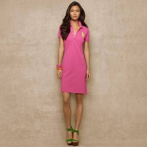 c7f0d153417e2 Lyst - Ralph Lauren Blue Label Big Pony Stretch Polo Dress in Pink