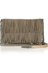 Stella McCartney The Falabella Fringed Faux Suede Shoulder Bag