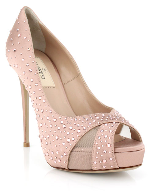 a4f3427b286 VALENTINO Pink Poudre Satin Crystal Pump. These are not