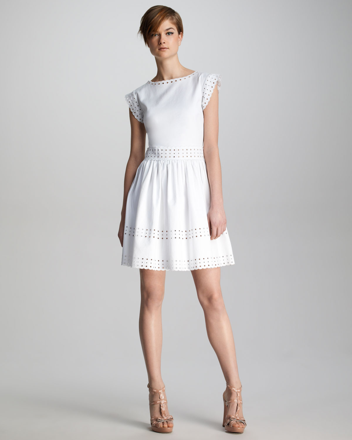 Lyst Red Valentino Pique Knit Sangallo Eyelet Dress In White
