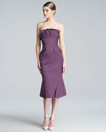 Zac Posen Strapless Duchess Satin Dress - Lyst