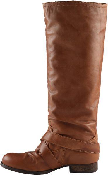 aldo flat buckle boots in brown cognac lyst