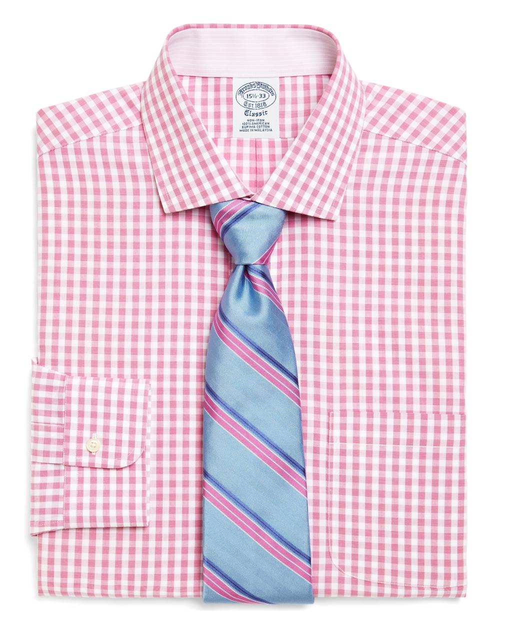 Brooks brothers supima cotton noniron slim fit gingham for Supima cotton dress shirts