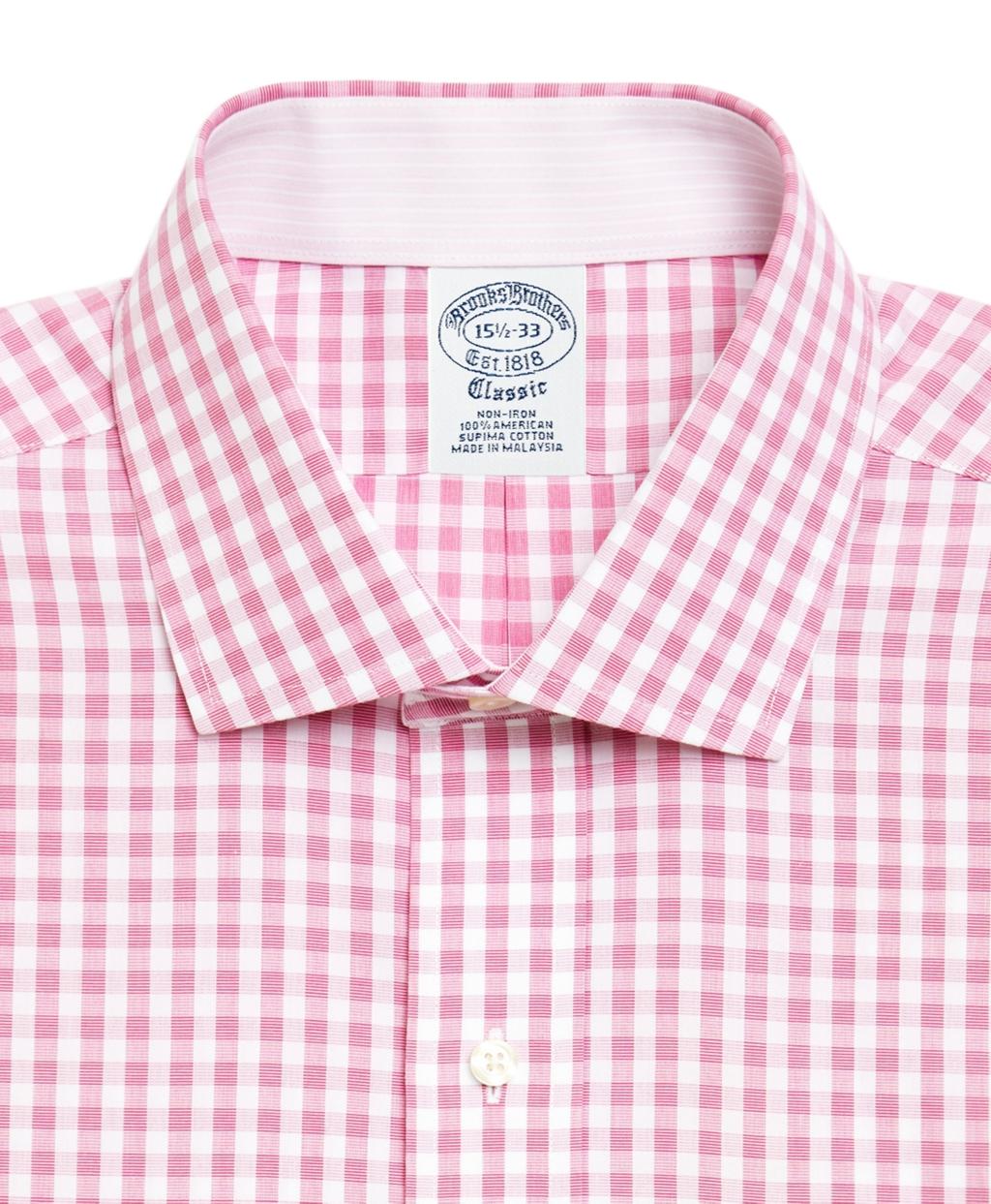 Mens Pink Gingham Dress Shirt
