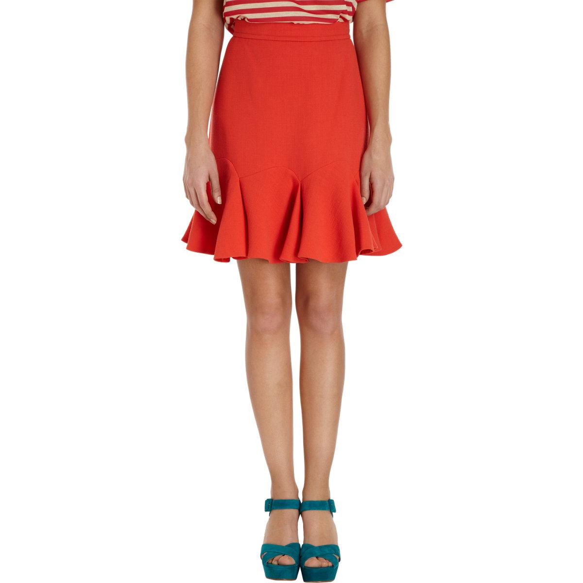 carven tulip hem skirt in red lyst. Black Bedroom Furniture Sets. Home Design Ideas