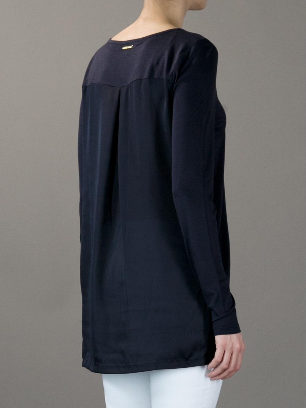 Michael kors long sleeve t shirt in blue black lyst for Black and blue long sleeve shirt