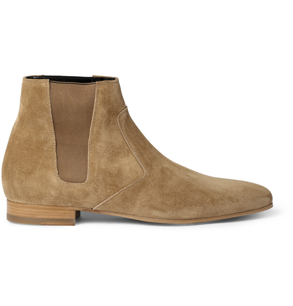 Saint Laurent Suede Chelsea Boots In Natural For Men Lyst