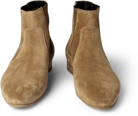 saint laurent suede chelsea boots in beige for men sand lyst. Black Bedroom Furniture Sets. Home Design Ideas