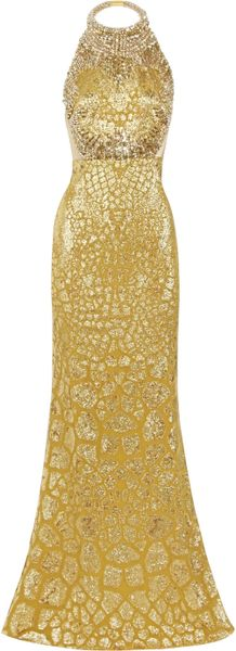 Alexander Mcqueen Crystal Embellished Silk-blend Gown in Gold