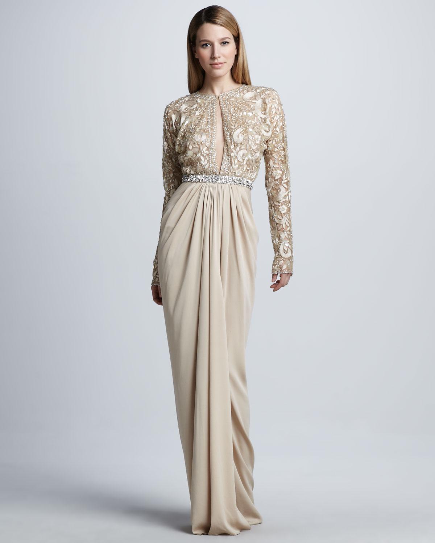 Lyst - Naeem Khan Longsleeve Beaded Drapeskirt Gown in Natural