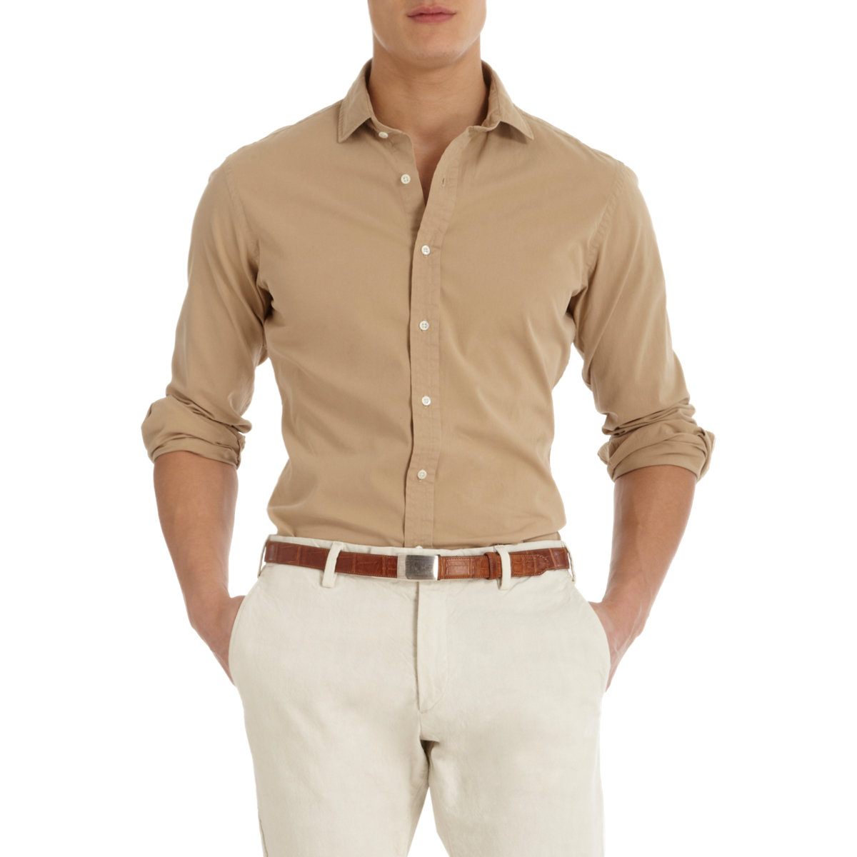 Ralph lauren black label spread collar shirt in beige for for Men s spread collar shirts