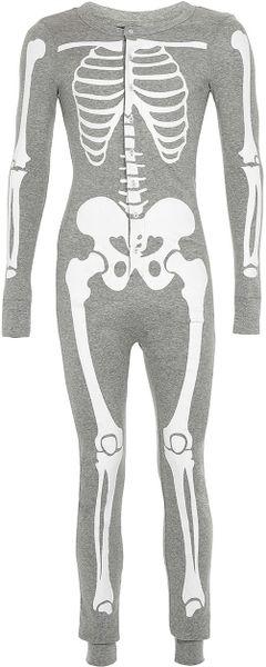 Topman Grey Skeleton Onesie In Gray For Men Grey Lyst