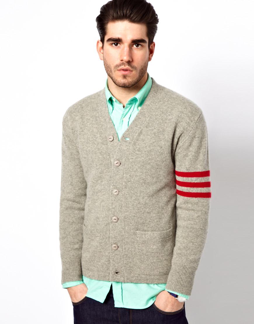 Lyst Gant Rugger Cardigan With Varsity Stripe Sleeve In