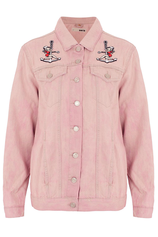 7fccf167fed3b Lyst - TOPSHOP Moto Betty Boop Denim Jacket in Pink