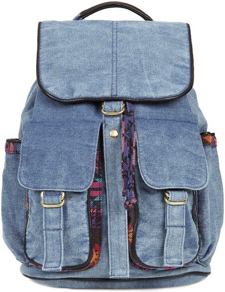 Topshop Aztec Acid Wash Backpack in Blue (black)
