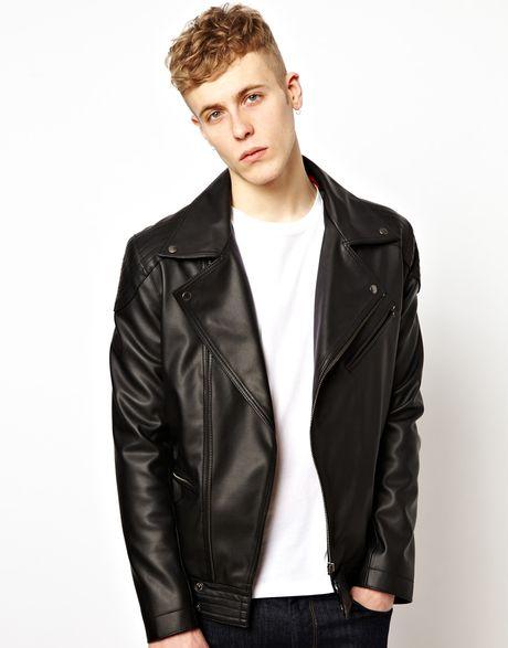 Topshop Quilted Black Faux Leather Look Biker Jacket Size UK 12/EUR 40