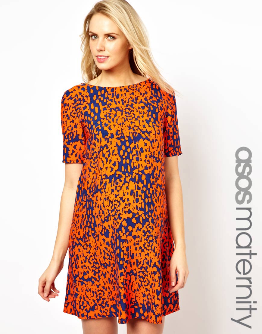 2547ff0135bd ASOS Shift Dress in Animal Print in Orange - Lyst