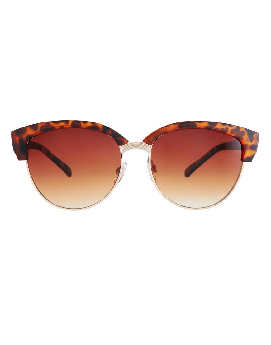 0e8e4607dce Lyst - ASOS Half Frame Angular Cat Eye Sunglasses in Brown