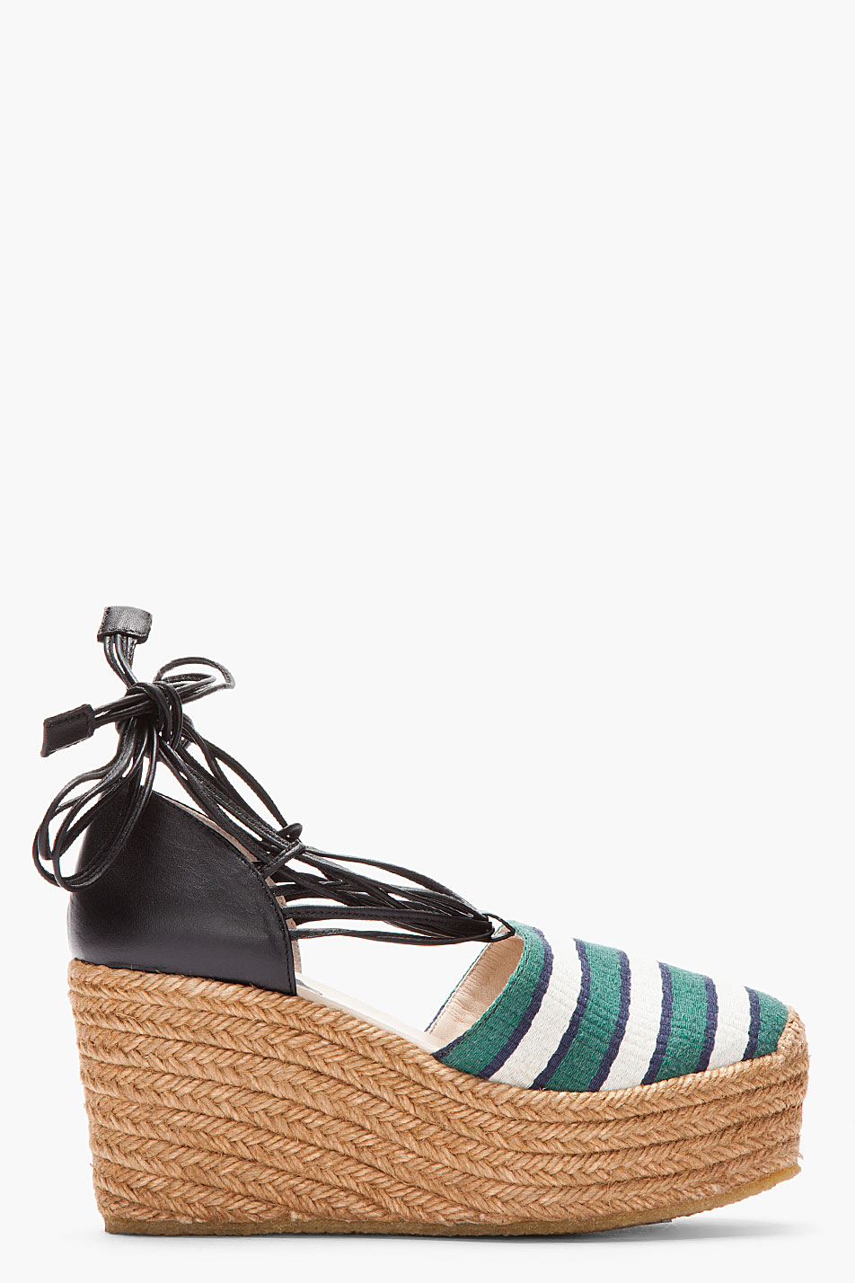 Lyst Chlo 233 Green Striped High Wedge Espadrille Heels In