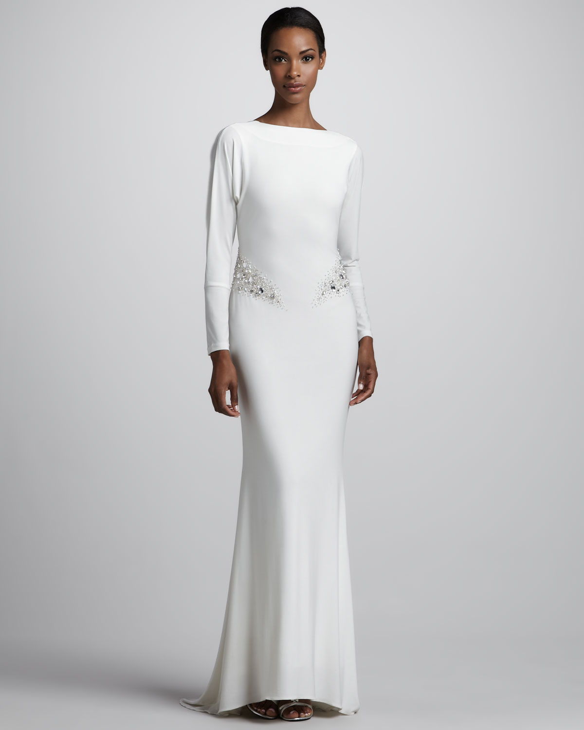 Badgley mischka Long sleeve Jersey Gown in White | Lyst