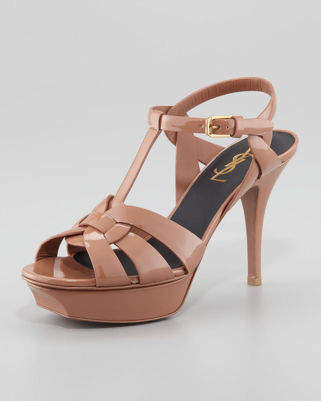 f26abc88281 Saint Laurent Tribute Patent Leather Sandal Dark Nude 4 in Brown - Lyst