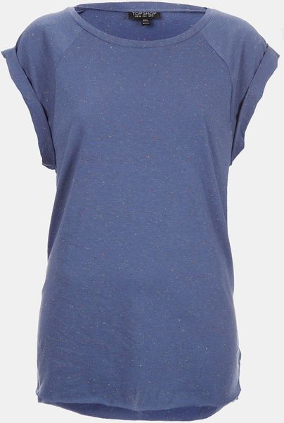 Topshop High Roller Specked Tee in Blue (bright blue)