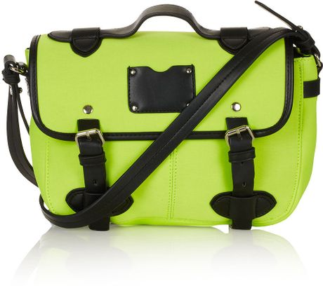 Topshop Neoprene Satchel in Green (lime)