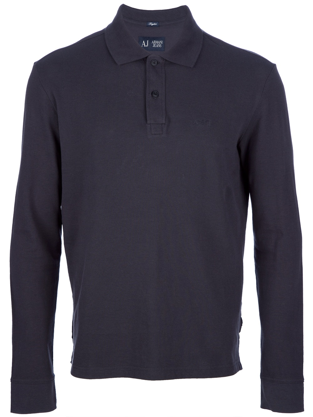 Armani Jeans Long Sleeve Polo Shirt In Blue For Men Navy