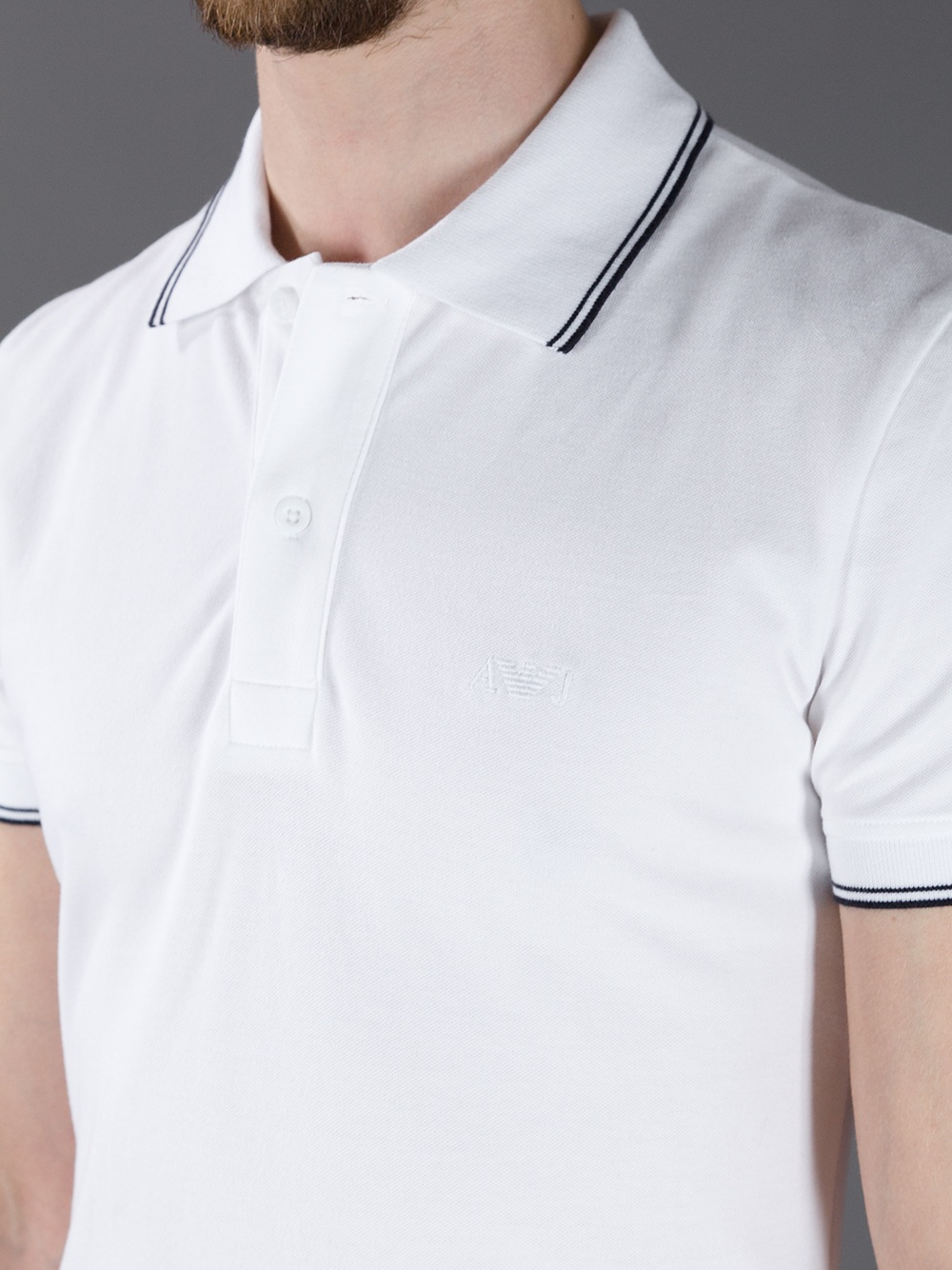 Lyst armani jeans short sleeve fitted polo shirt in for White fitted polo shirts