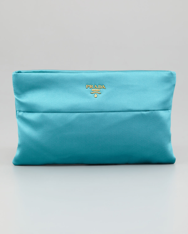 06d256d5ba90 ... clearance lyst prada satin clutch bag in blue cdd9a 8ee9c