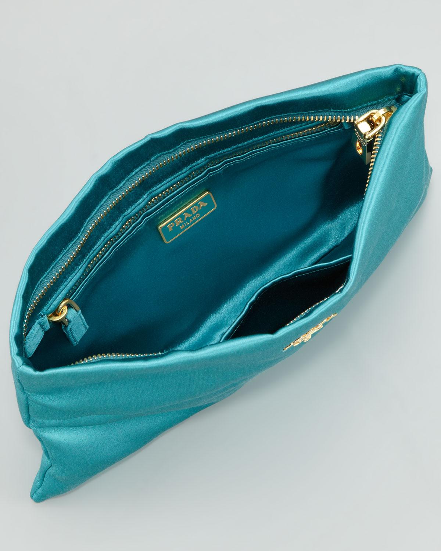 Lyst - Prada Satin Clutch Bag in Blue f17f1f2e7d81e