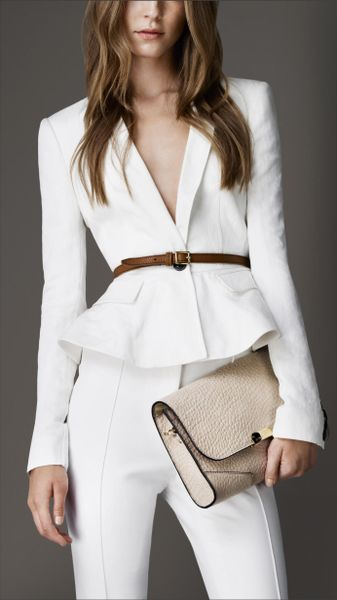 Burberry Fitted Peplum Detail Jacket in White (chalk white)