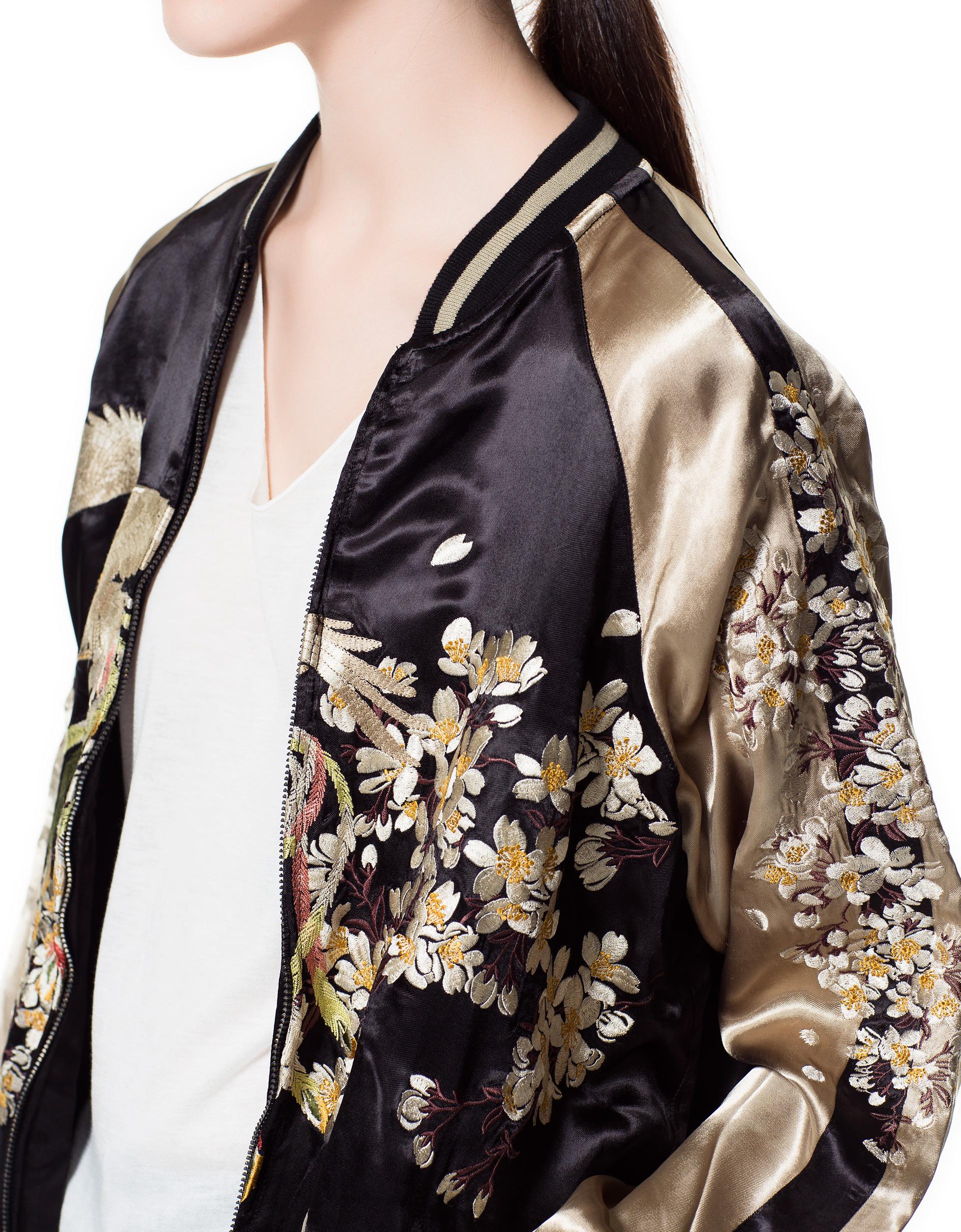 Zara Embroidered Bomber Jacket In Metallic Lyst