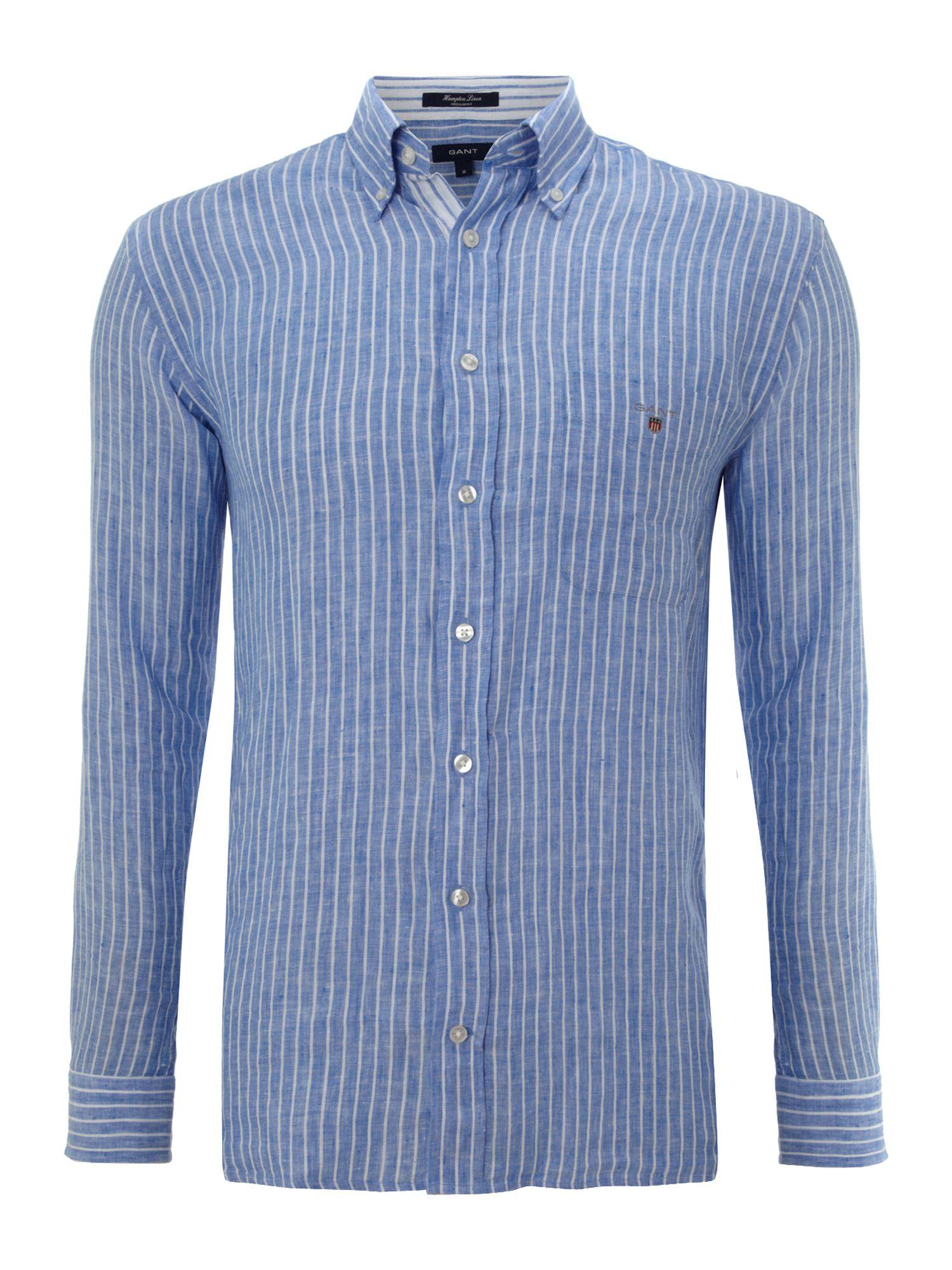 Gant long sleeve hampton linen shirt in blue for men lyst for Linen long sleeve shirt