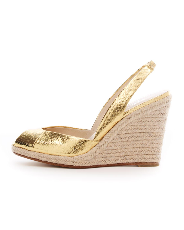 954f166fe70 Lyst - Michael Kors Korsvivian Slingback Wedge Sandal in Metallic