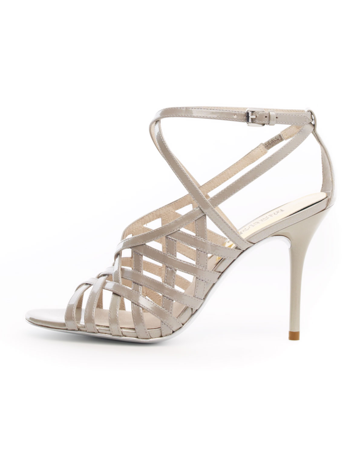 Michael Kors Jessie Patent Cage Sandal In Gray Silver Lyst