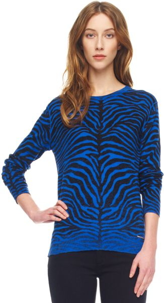 Michael Kors Zebra Print Sweater in Blue (zebra)