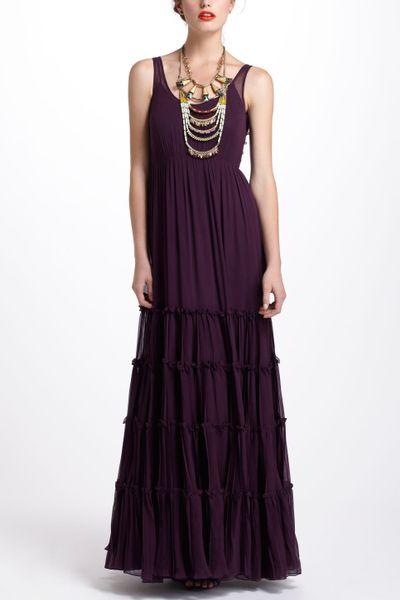 Anthropologie tiered silk maxi dress in purple lyst for Anthropologie mural maxi dress