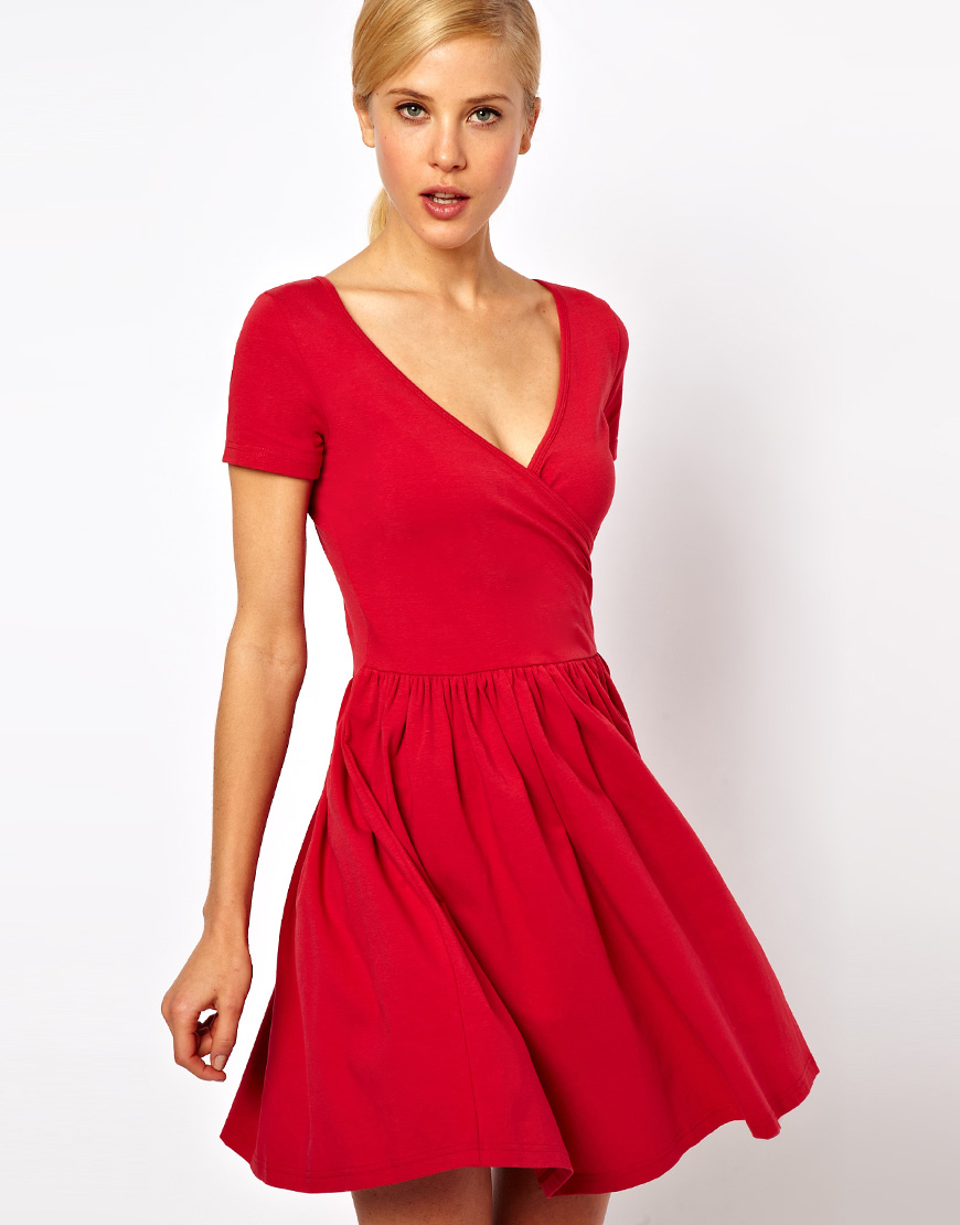 Asos Skater Dress with Ballet Wrap and Short Sleeves in Red | Lyst